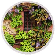 Wisteria On A Home In Zellenberg France 3 Round Beach Towel