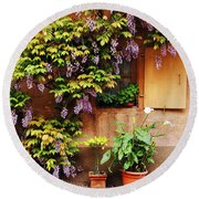 Wisteria On Home In Zellenberg France Round Beach Towel
