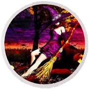 Witch In The Pumpkin Patch Round Beach Towel