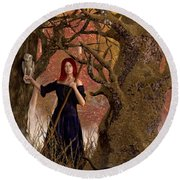 Witch Of The Autumn Forest  Round Beach Towel