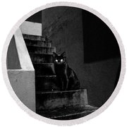 Witch's Cat In Moonlight... Round Beach Towel