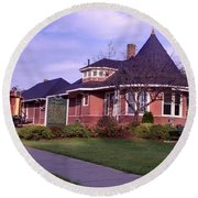 Witch's Hat Railroad Depot Round Beach Towel