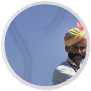 With Great Mustache Comes Great Responsibility Round Beach Towel