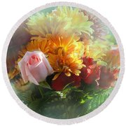 With Love Flower Bouquet Round Beach Towel