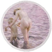 With Mother Round Beach Towel by Anders Leonard Zorn