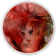 Within A Glass Heart Round Beach Towel