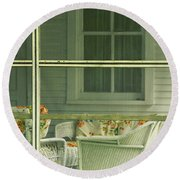 Within The Screened Porch Round Beach Towel