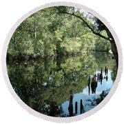 Withlacoochee River Reflections Round Beach Towel