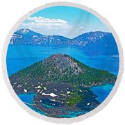 Wizard Island From Watchman Overlook In Crater Lake National Park-oregon  Round Beach Towel