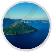 Wizard Island In Crater Lake, Oregon Round Beach Towel