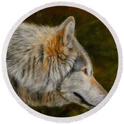 Wolf 4 Round Beach Towel by David Stribbling