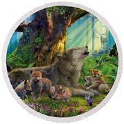 Wolf And Cubs In The Woods Round Beach Towel