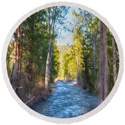 Wolf Creek Flowing Downstream  Round Beach Towel