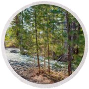 Wolf Creek Stretching Out Round Beach Towel