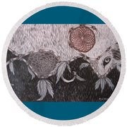 The Wolf Is Watching Round Beach Towel
