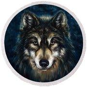 Wolf Head Round Beach Towel