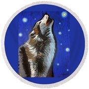 Wolf Howl Round Beach Towel
