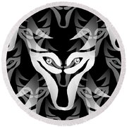 Wolf Mask Round Beach Towel