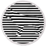 Wolf Optical Illusion Round Beach Towel