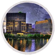 Wolf Point Panorama Round Beach Towel