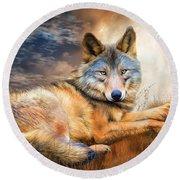 Wolf - Spirit Of Truth Round Beach Towel
