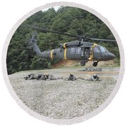 Wolfhounds Air Assault From A Uh-60 Round Beach Towel
