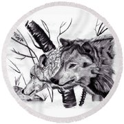 Wolves Round Beach Towel