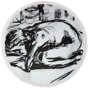 Woman Alone With Shadows Round Beach Towel