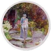 Woman And Child In A Cottage Garden Round Beach Towel