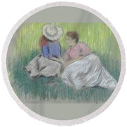 Woman And Girl On The Grass Round Beach Towel
