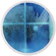 Woman At A Window Round Beach Towel