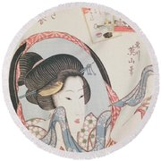 Woman At Her Mirror Round Beach Towel