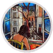 Woman At Window Round Beach Towel