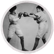 Woman Boxing Round Beach Towel