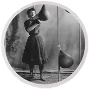 Woman Boxing Workout Round Beach Towel by Underwood Archives