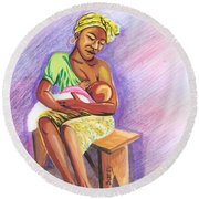 Woman Breastfeeding Bay In Rwanda Round Beach Towel