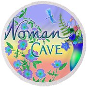 Woman Cave With Dragonfly Round Beach Towel
