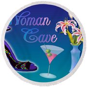 Woman Cave With Stargazers Round Beach Towel