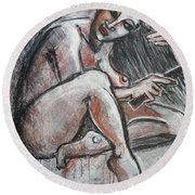 Woman Combing Her Hair - Nudes Round Beach Towel