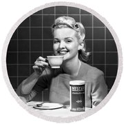 Woman Drinking Nescafe Round Beach Towel by Underwood Archives
