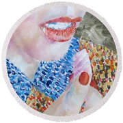 Woman Eating Marshmallow- Oil Portrait Round Beach Towel