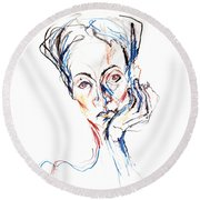 Woman Expression Round Beach Towel