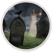 Woman Haunting Cemetery Round Beach Towel