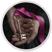Woman Holding A Golden Key On A Pink Ribbon Round Beach Towel