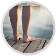 Woman In A Dress On The Edge Of A Wooden Board Walk Round Beach Towel