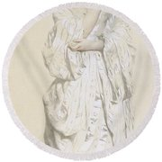 Woman In A Dressing Gown Round Beach Towel by French School