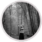 Woman In A Forrest Round Beach Towel