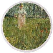 Woman In A Garden Round Beach Towel by Vincent van Gogh