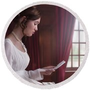 Woman In A Regency Dress Reading A Letter Round Beach Towel