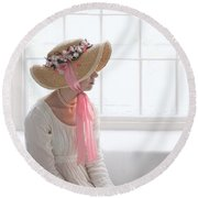 Woman In A Regency Period Empire Line Dress With Straw Bonnet Si Round Beach Towel